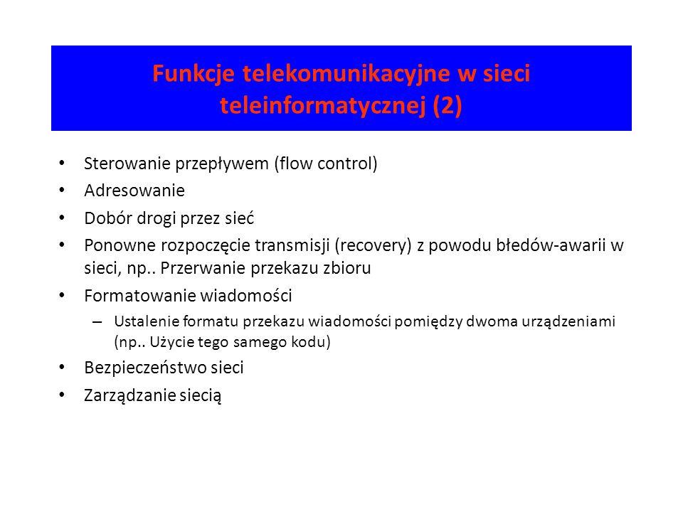 Funkcje telekomunikacyjne w sieci teleinformatycznej (2) Sterowanie przepływem (flow control) Adresowanie Dobór drogi przez sieć Ponowne rozpoczęcie t
