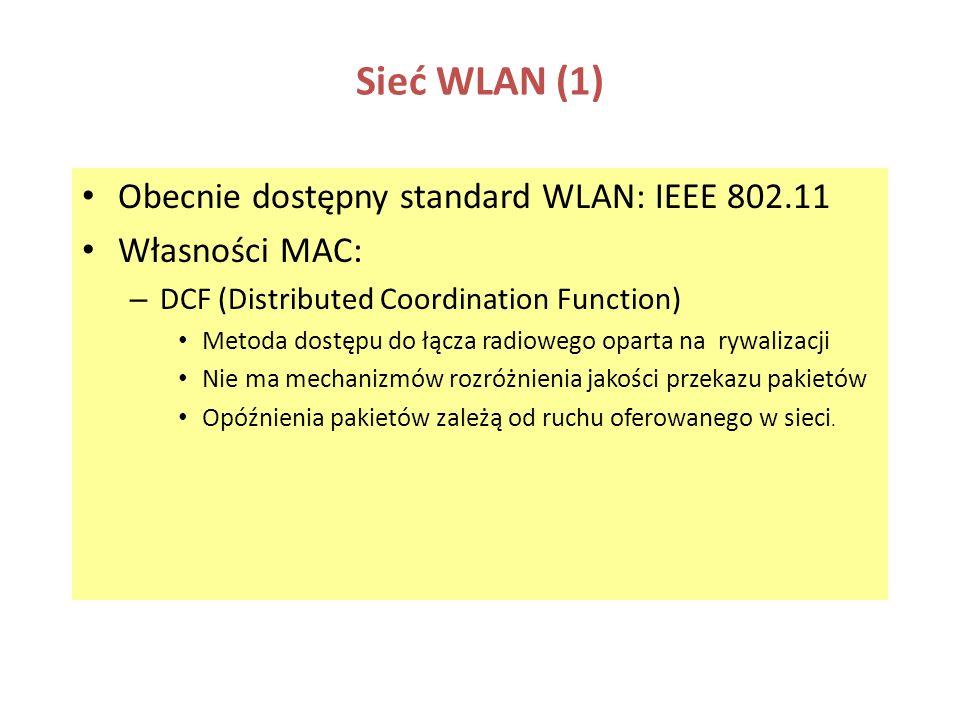 Sieć WLAN (1) Obecnie dostępny standard WLAN: IEEE 802.11 Własności MAC: – DCF (Distributed Coordination Function) Metoda dostępu do łącza radiowego o