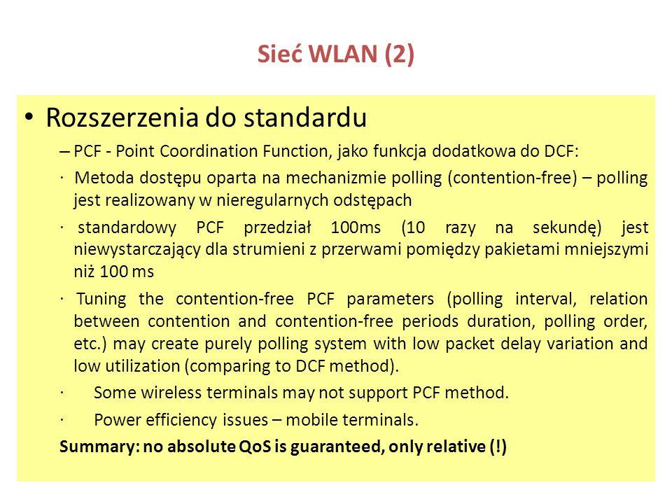 Sieć WLAN (2) Rozszerzenia do standardu – PCF - Point Coordination Function, jako funkcja dodatkowa do DCF: · Metoda dostępu oparta na mechanizmie pol