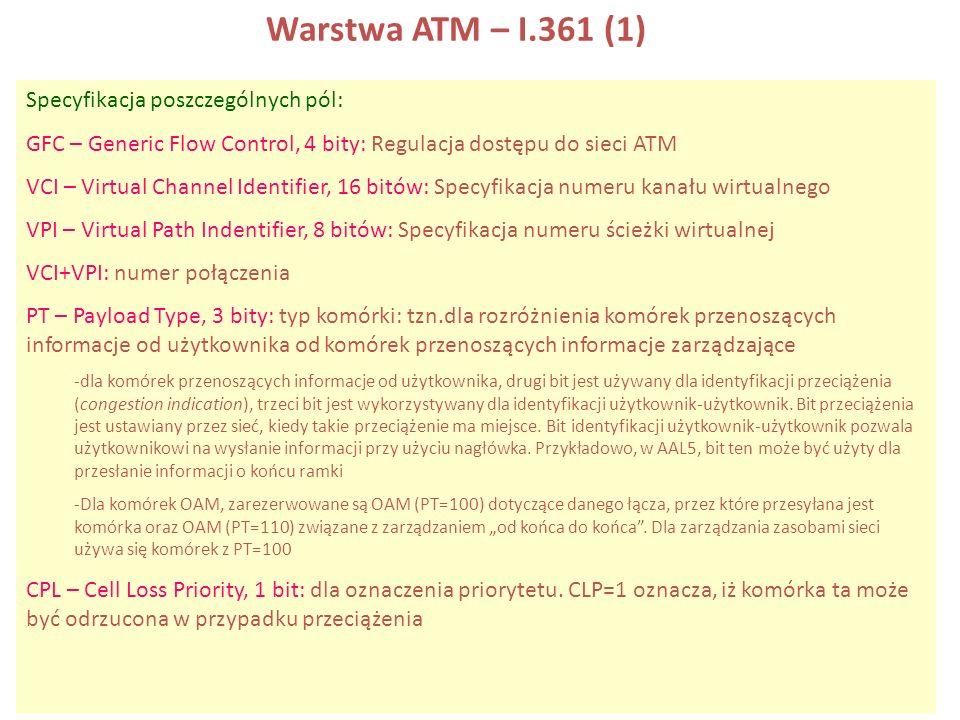 Warstwa ATM – I.361 (1) Specyfikacja poszczególnych pól: GFC – Generic Flow Control, 4 bity: Regulacja dostępu do sieci ATM VCI – Virtual Channel Iden