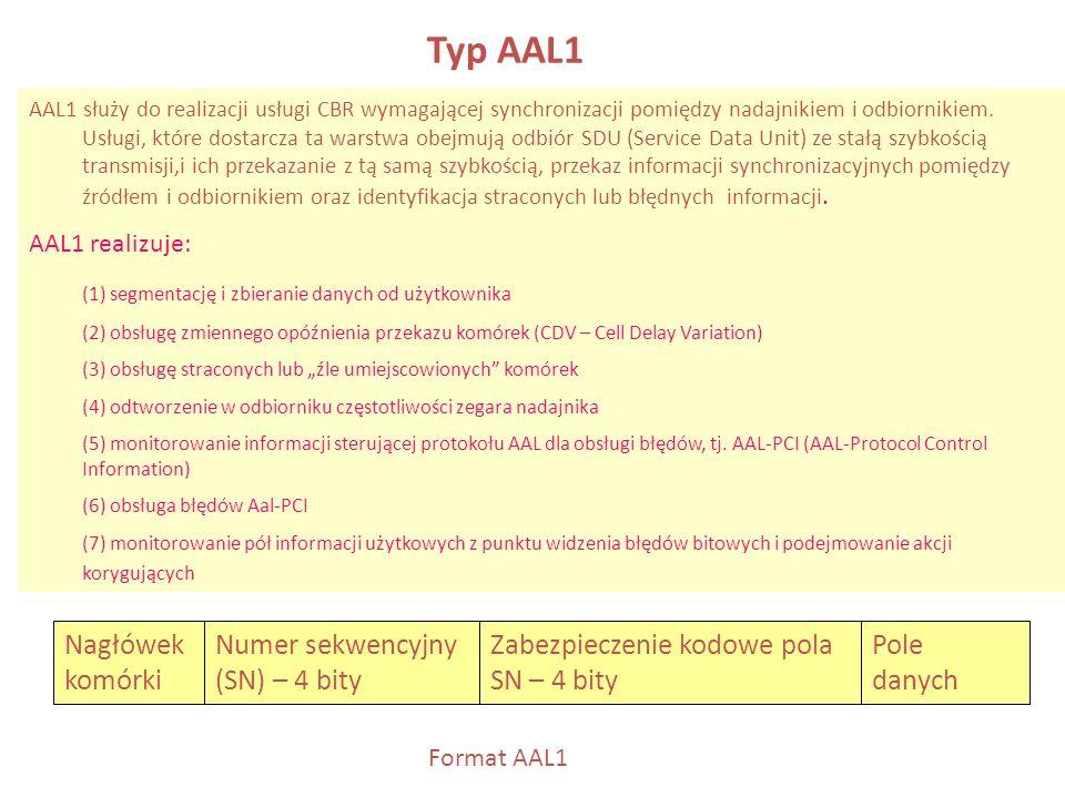 Typ AAL1 AAL1 służy do realizacji usługi CBR wymagającej synchronizacji pomiędzy nadajnikiem i odbiornikiem. Usługi, które dostarcza ta warstwa obejmu