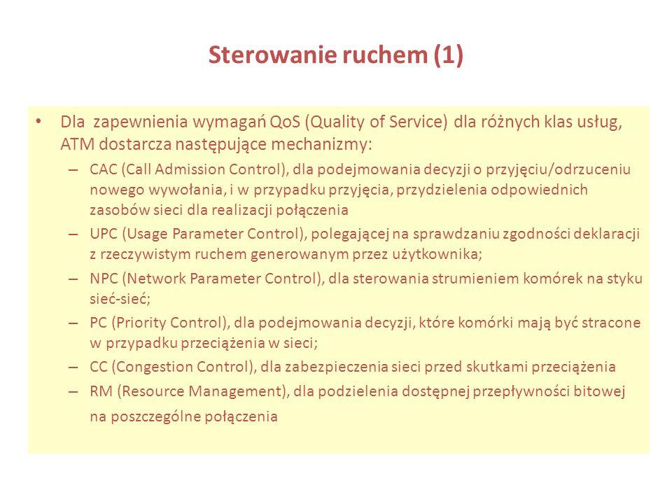 Sterowanie ruchem (1) Dla zapewnienia wymagań QoS (Quality of Service) dla różnych klas usług, ATM dostarcza następujące mechanizmy: – CAC (Call Admis