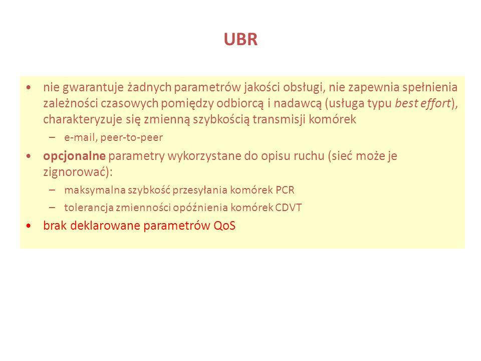 UBR nie gwarantuje żadnych parametrów jakości obsługi, nie zapewnia spełnienia zależności czasowych pomiędzy odbiorcą i nadawcą (usługa typu best effo