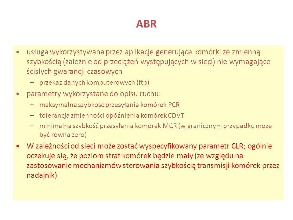 ABR usługa wykorzystywana przez aplikacje generujące komórki ze zmienną szybkością (zależnie od przeciążeń występujących w sieci) nie wymagające ścisł