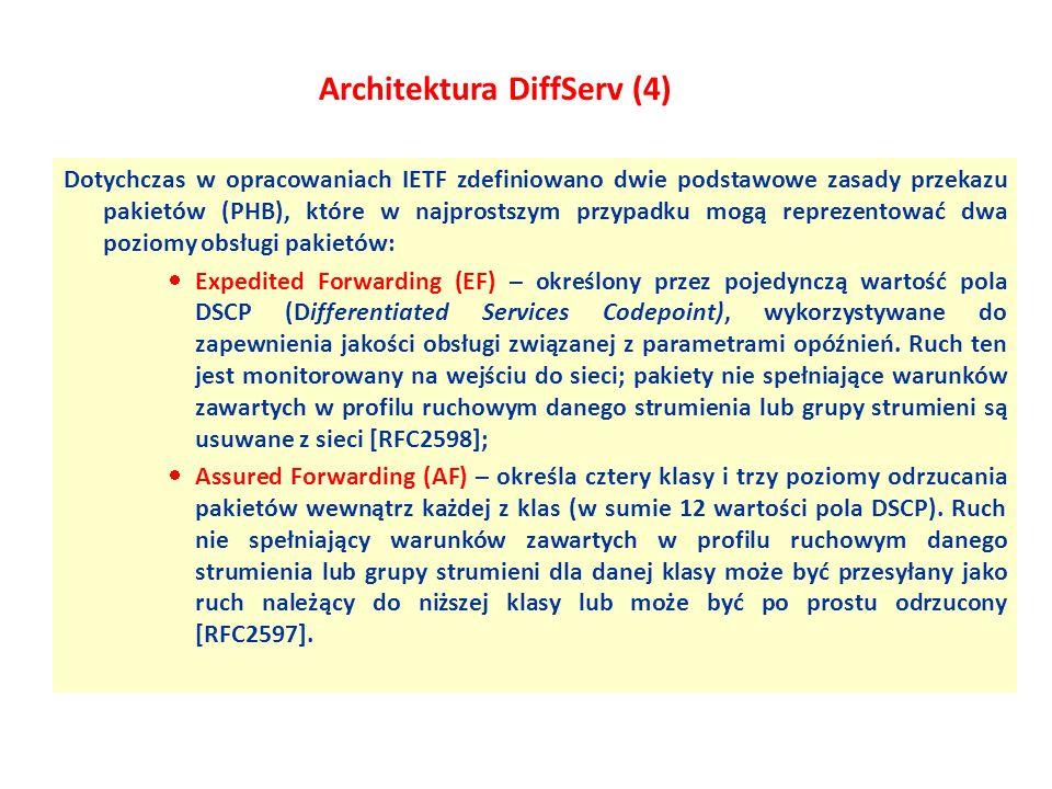Architektura DiffServ (4) Dotychczas w opracowaniach IETF zdefiniowano dwie podstawowe zasady przekazu pakietów (PHB), które w najprostszym przypadku