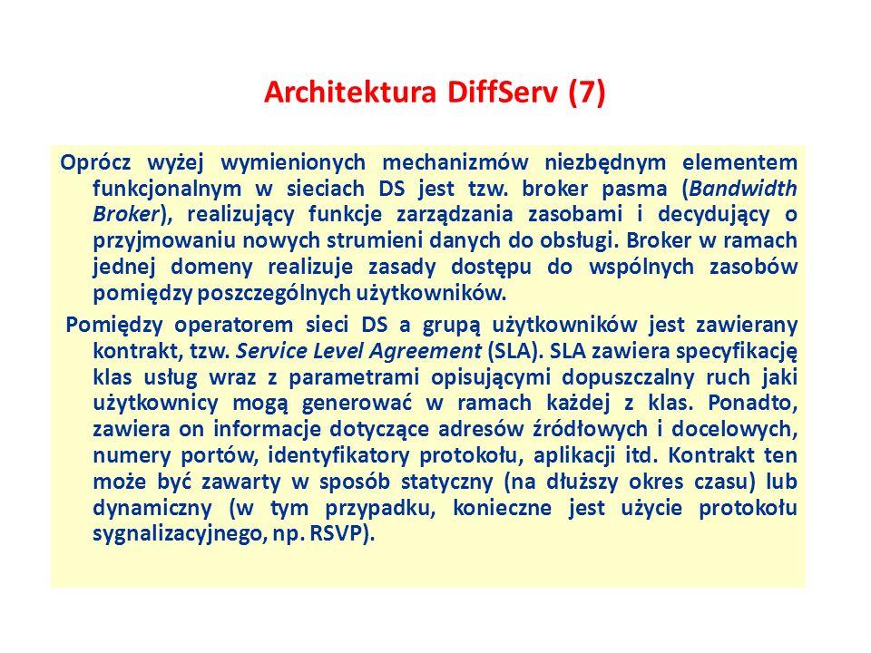 Architektura DiffServ (7) Oprócz wyżej wymienionych mechanizmów niezbędnym elementem funkcjonalnym w sieciach DS jest tzw. broker pasma (Bandwidth Bro
