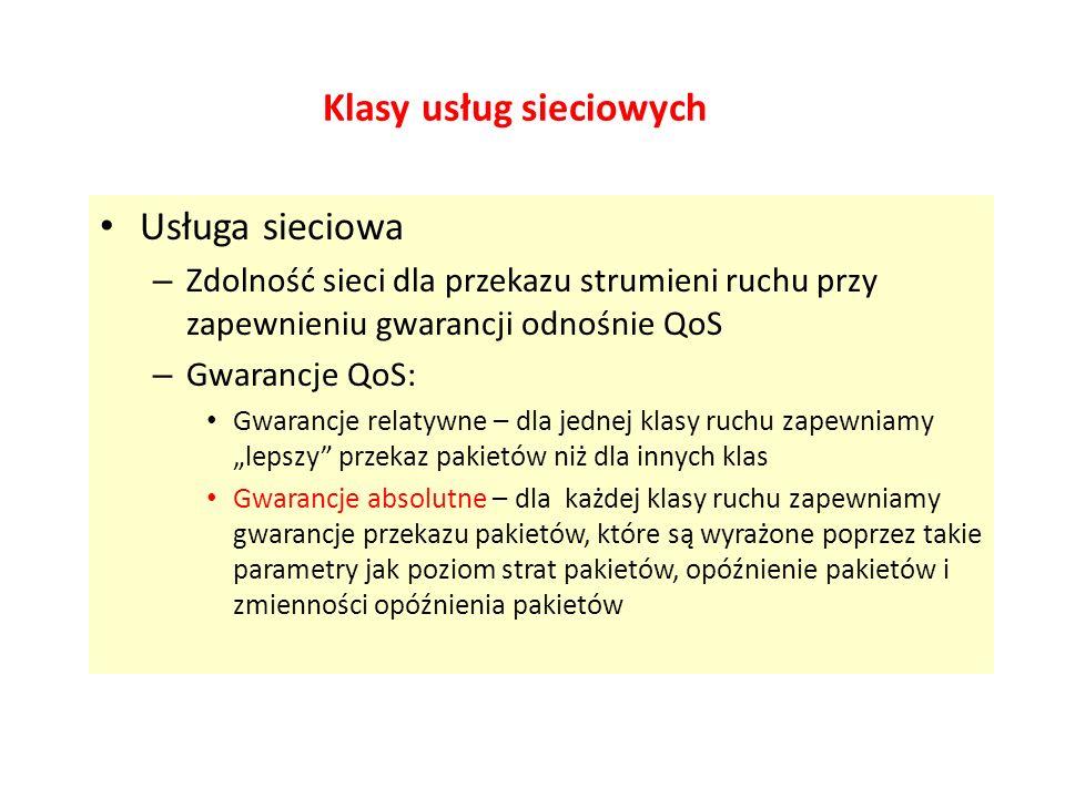 Klasy usług sieciowych Usługa sieciowa – Zdolność sieci dla przekazu strumieni ruchu przy zapewnieniu gwarancji odnośnie QoS – Gwarancje QoS: Gwarancj