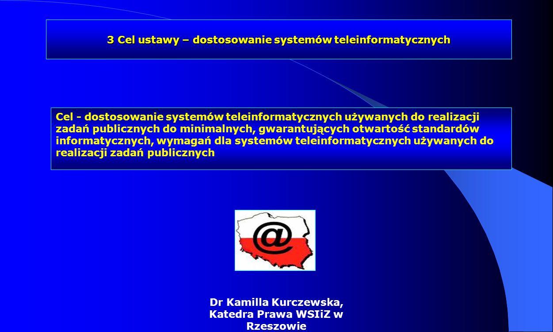 Dr Kamilla Kurczewska, Katedra Prawa WSIiZ w Rzeszowie Cel - dostosowanie systemów teleinformatycznych używanych do realizacji zadań publicznych do mi