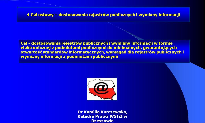 Dr Kamilla Kurczewska, Katedra Prawa WSIiZ w Rzeszowie Cel - dostosowania rejestrów publicznych i wymiany informacji w formie elektronicznej z podmiot