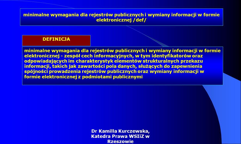 Dr Kamilla Kurczewska, Katedra Prawa WSIiZ w Rzeszowie minimalne wymagania dla rejestrów publicznych i wymiany informacji w formie elektronicznej - ze