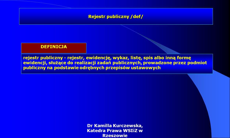 Dr Kamilla Kurczewska, Katedra Prawa WSIiZ w Rzeszowie rejestr publiczny - rejestr, ewidencję, wykaz, listę, spis albo inną formę ewidencji, służące d