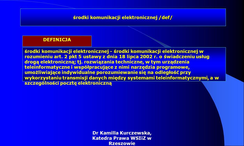 Dr Kamilla Kurczewska, Katedra Prawa WSIiZ w Rzeszowie środki komunikacji elektronicznej - środki komunikacji elektronicznej w rozumieniu art. 2 pkt 5