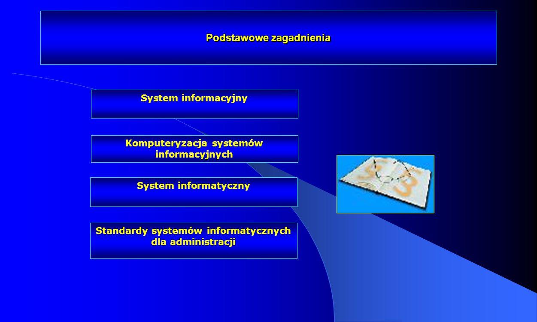 Podstawowe zagadnienia Komputeryzacja systemów informacyjnych System informacyjny System informatyczny Standardy systemów informatycznych dla administ