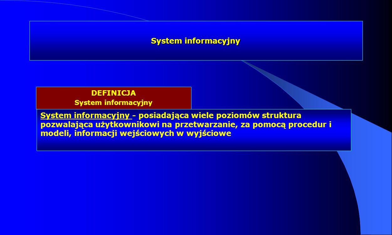 System informacyjny System informacyjny - posiadająca wiele poziomów struktura pozwalająca użytkownikowi na przetwarzanie, za pomocą procedur i modeli