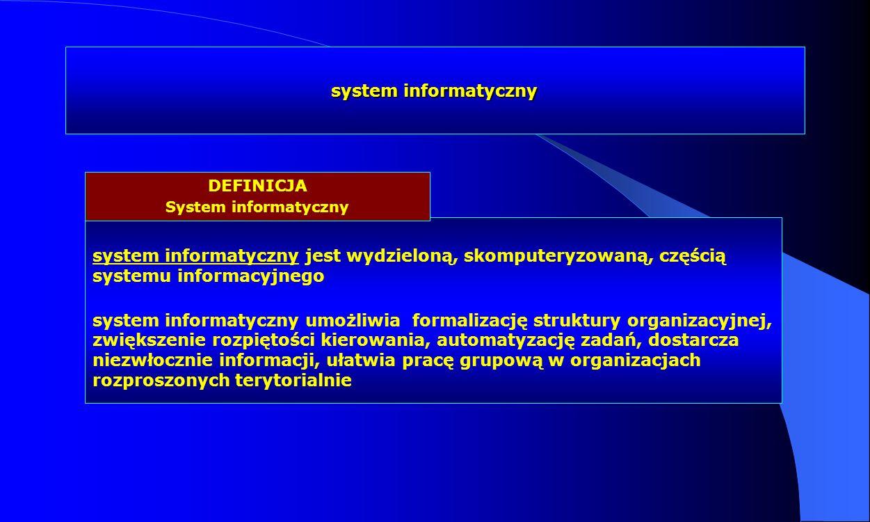 system informatyczny system informatyczny jest wydzieloną, skomputeryzowaną, częścią systemu informacyjnego system informatyczny umożliwia formalizacj