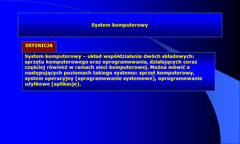 System komputerowy System komputerowy – układ współdziałania dwóch składowych: sprzętu komputerowego oraz oprogramowania, działających coraz częściej