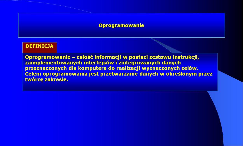 Oprogramowanie Oprogramowanie – całość informacji w postaci zestawu instrukcji, zaimplementowanych interfejsów i zintegrowanych danych przeznaczonych