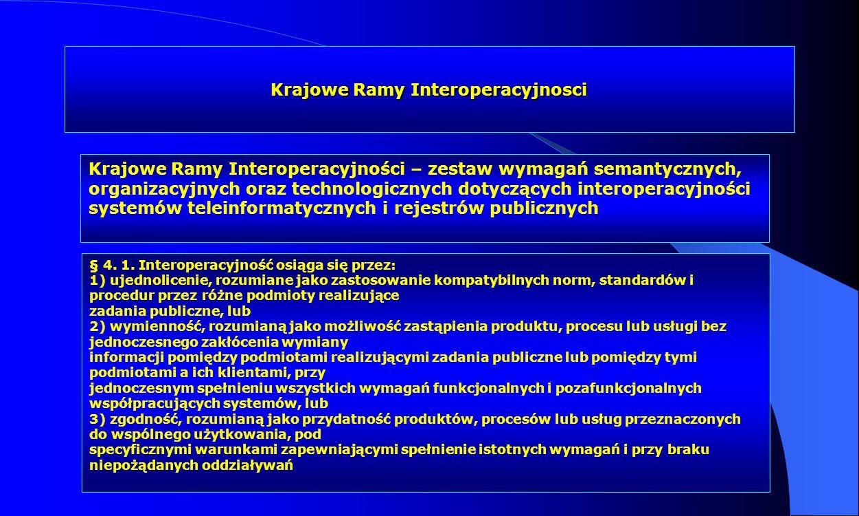Krajowe Ramy Interoperacyjnosci Krajowe Ramy Interoperacyjności – zestaw wymagań semantycznych, organizacyjnych oraz technologicznych dotyczących inte