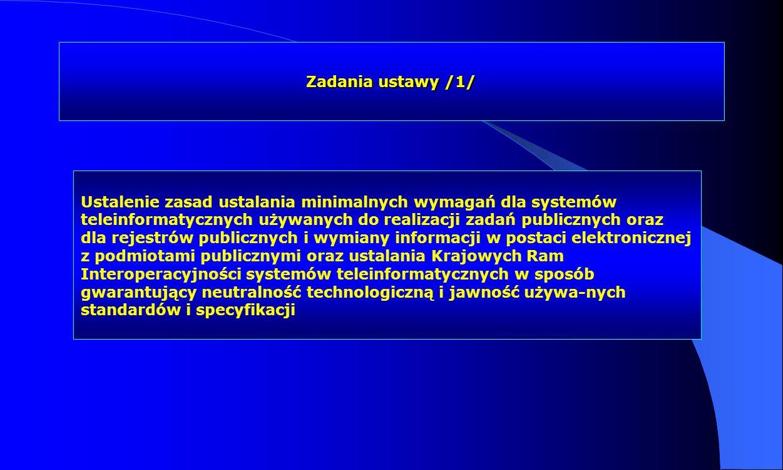 Zadania ustawy /1/ Ustalenie zasad ustalania minimalnych wymagań dla systemów teleinformatycznych używanych do realizacji zadań publicznych oraz dla r