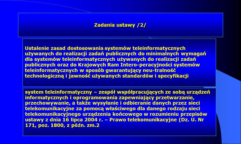 Zadania ustawy /2/ Ustalenie zasad dostosowania systemów teleinformatycznych używanych do realizacji zadań publicznych do minimalnych wymagań dla syst