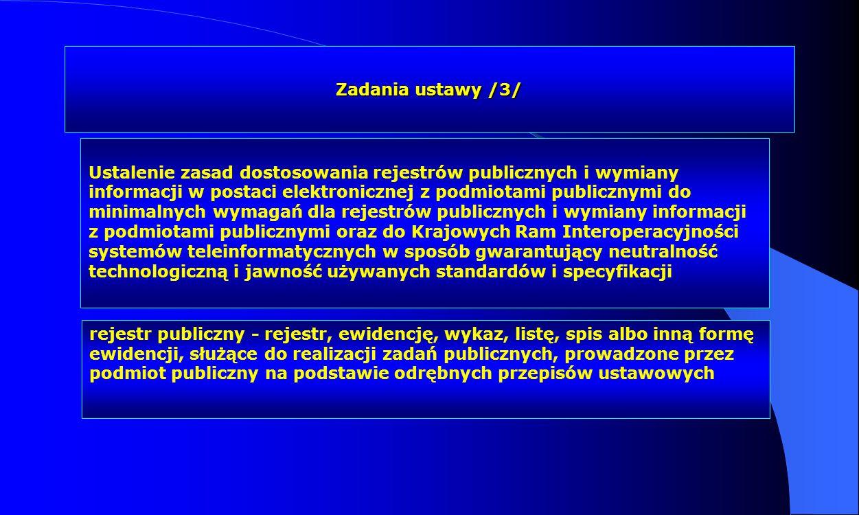 Zadania ustawy /3/ Ustalenie zasad dostosowania rejestrów publicznych i wymiany informacji w postaci elektronicznej z podmiotami publicznymi do minima