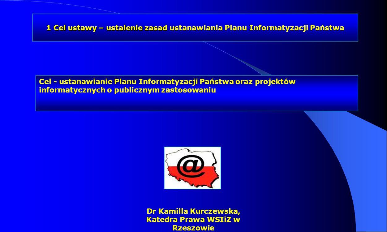 Dr Kamilla Kurczewska, Katedra Prawa WSIiZ w Rzeszowie Kontrola projektów informatycznych o publicznym zastosowaniu obiektywne ustalenie stanu faktycznego oraz rzetelne jego udokumentowanie, a w razie stwierdzenia nieprawidłowości - ustalenie ich przyczyn, zakresu i skutków oraz osób za nie odpowiedzialnych DEFINICJA /def/ kontrola projektów informatycznych o publicznym zastosowaniu /def/