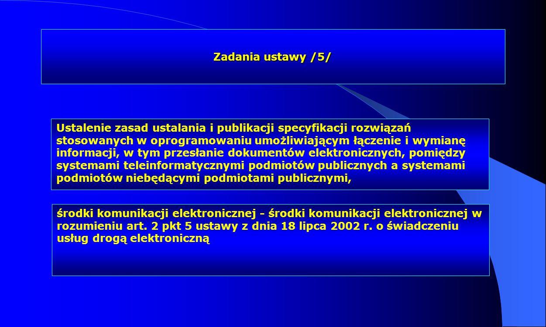 Zadania ustawy /5/ Ustalenie zasad ustalania i publikacji specyfikacji rozwiązań stosowanych w oprogramowaniu umożliwiającym łączenie i wymianę inform