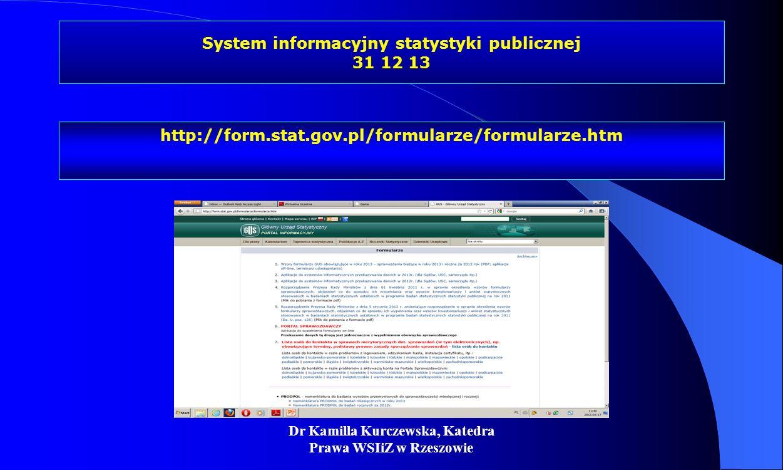 Dr Kamilla Kurczewska, Katedra Prawa WSIiZ w Rzeszowie System informacyjny statystyki publicznej 31 12 13 http://form.stat.gov.pl/formularze/formularz