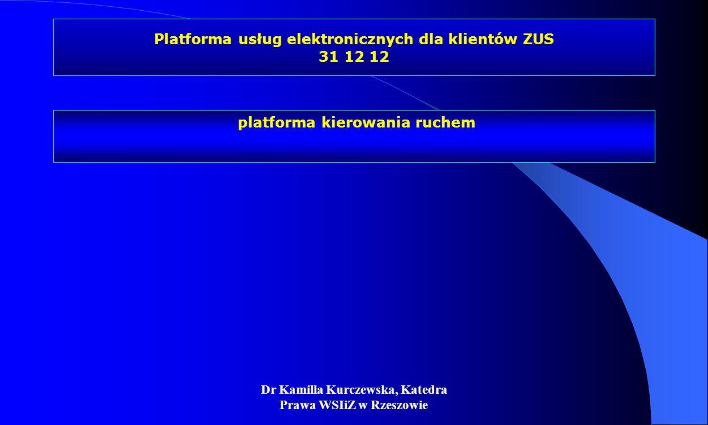 Dr Kamilla Kurczewska, Katedra Prawa WSIiZ w Rzeszowie Platforma usług elektronicznych dla klientów ZUS 31 12 12 platforma kierowania ruchem