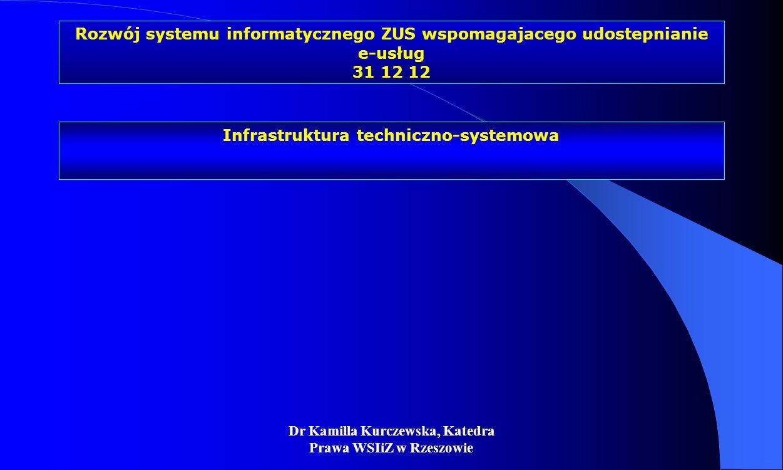 Dr Kamilla Kurczewska, Katedra Prawa WSIiZ w Rzeszowie Rozwój systemu informatycznego ZUS wspomagajacego udostepnianie e-usług 31 12 12 Infrastruktura