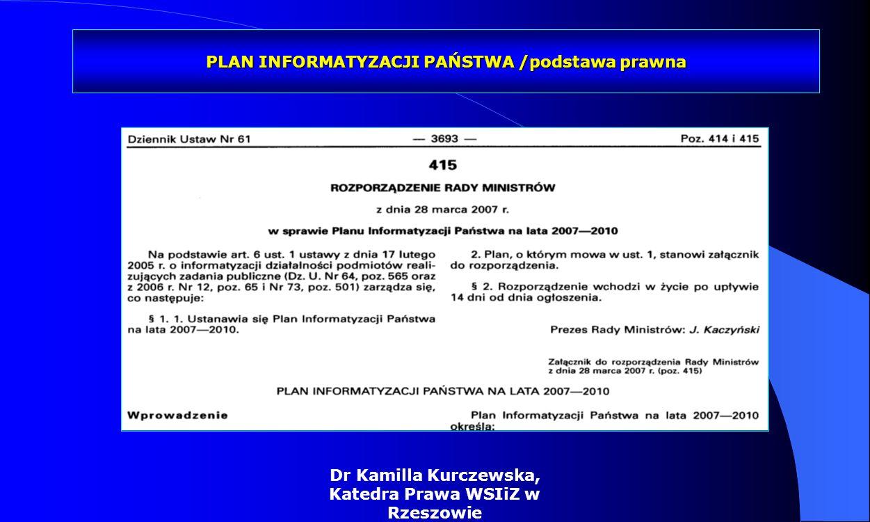 Dr Kamilla Kurczewska, Katedra Prawa WSIiZ w Rzeszowie Regulacje ustawowe elektroniczna skrzynka podawcza funkcjonalnosci 2/2 skonfigurowanie przez instytucję publiczną własnego, dedykowanego formularza do wypełniania własnego dokumentu, przekazanie gotowego dokumentu w postaci XML, obsługa przez instytucję publiczną skrzynki podawczej przy użyciu przeglądarki WWW (przeglądanie i pobieranie dokumentów), automatyczne przekazywanie dokumentów z ePUAP do systemów instytucji publicznej za pośrednictwem Web Services (działanie w trybie synchronicznym wymaga od instytucji publicznej zapewnienia wysokiej dostępności własnych systemów), bezpieczne połączenie z użytkownikiem (HTTPS).