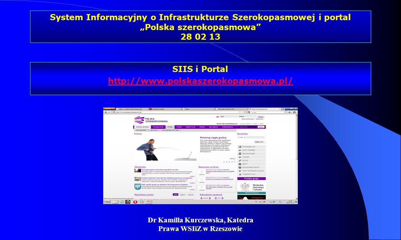 Dr Kamilla Kurczewska, Katedra Prawa WSIiZ w Rzeszowie System Informacyjny o Infrastrukturze Szerokopasmowej i portal Polska szerokopasmowa 28 02 13 S