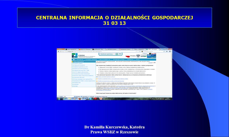 Dr Kamilla Kurczewska, Katedra Prawa WSIiZ w Rzeszowie CENTRALNA INFORMACJA O DZIAŁALNOŚCI GOSPODARCZEJ 31 03 13