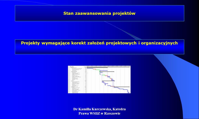 Dr Kamilla Kurczewska, Katedra Prawa WSIiZ w Rzeszowie Stan zaawansowania projektów Projekty wymagające korekt założeń projektowych i organizacyjnych
