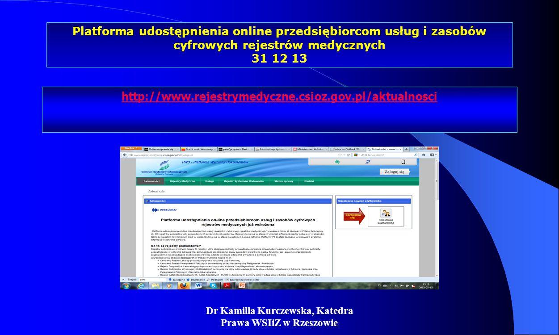 Dr Kamilla Kurczewska, Katedra Prawa WSIiZ w Rzeszowie Platforma udostępnienia online przedsiębiorcom usług i zasobów cyfrowych rejestrów medycznych 3
