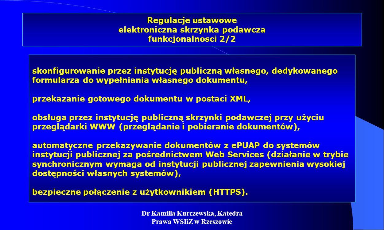 Dr Kamilla Kurczewska, Katedra Prawa WSIiZ w Rzeszowie Regulacje ustawowe elektroniczna skrzynka podawcza funkcjonalnosci 2/2 skonfigurowanie przez in