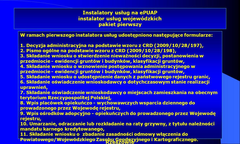 Dr Kamilla Kurczewska, Katedra Prawa WSIiZ w Rzeszowie Instalatory usług na ePUAP instalator usług wojewódzkich pakiet pierwszy W ramach pierwszego in