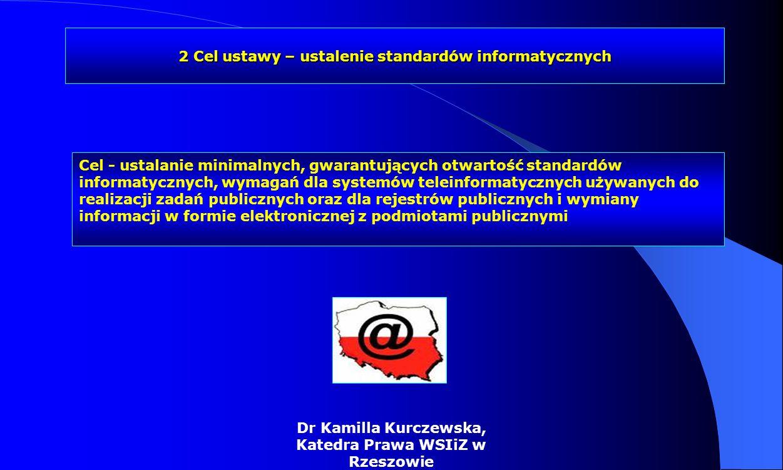 Zadania ustawy /3/ Ustalenie zasad dostosowania rejestrów publicznych i wymiany informacji w postaci elektronicznej z podmiotami publicznymi do minimalnych wymagań dla rejestrów publicznych i wymiany informacji z podmiotami publicznymi oraz do Krajowych Ram Interoperacyjności systemów teleinformatycznych w sposób gwarantujący neutralność technologiczną i jawność używanych standardów i specyfikacji rejestr publiczny - rejestr, ewidencję, wykaz, listę, spis albo inną formę ewidencji, służące do realizacji zadań publicznych, prowadzone przez podmiot publiczny na podstawie odrębnych przepisów ustawowych