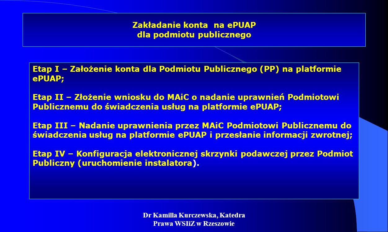 Dr Kamilla Kurczewska, Katedra Prawa WSIiZ w Rzeszowie Zakładanie konta na ePUAP dla podmiotu publicznego Etap I – Założenie konta dla Podmiotu Public