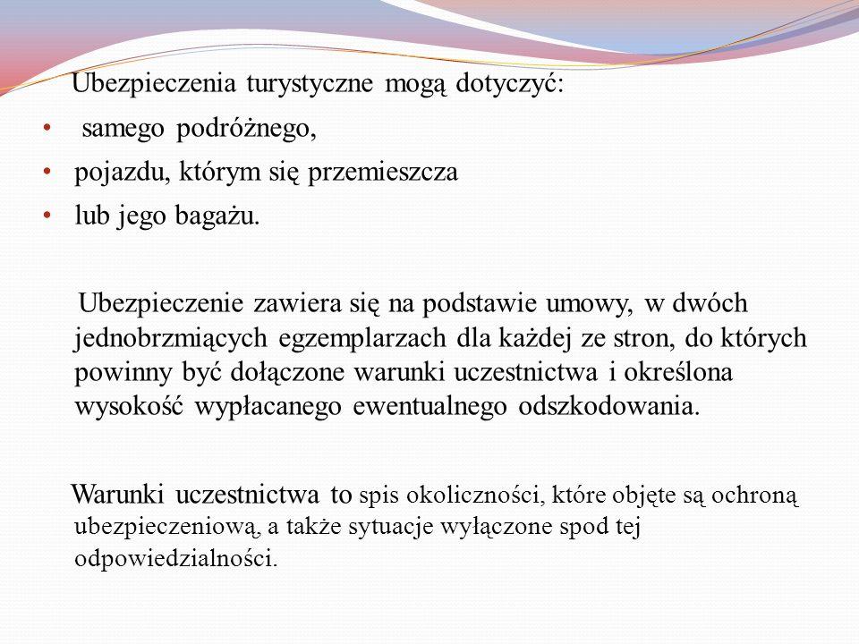 Zgodnie z ustawą o usługach turystycznych z 29.07.1997 roku, biuro podróży zobowiązane jest do posiadania jednego z następujących zabezpieczeń: polisy ubezpieczenia odpowiedzialności cywilnej na rzecz klientów (określona jest kwota odpowiedzialności przypadająca na jednego uczestnika), gwarancji ubezpieczeniowej (biuro turystyczne płaci ubezpieczycielowi ustaloną składkę ubezpieczeniową, a w przypadku problemów ubezpieczyciel bierze je na siebie), gwarancji bankowej (biuro turystyczne wpłaca pieniądze bankowi, ustalana jest kwota gwarancji, która jest wypłacana niezależnie od ilości uczestników).