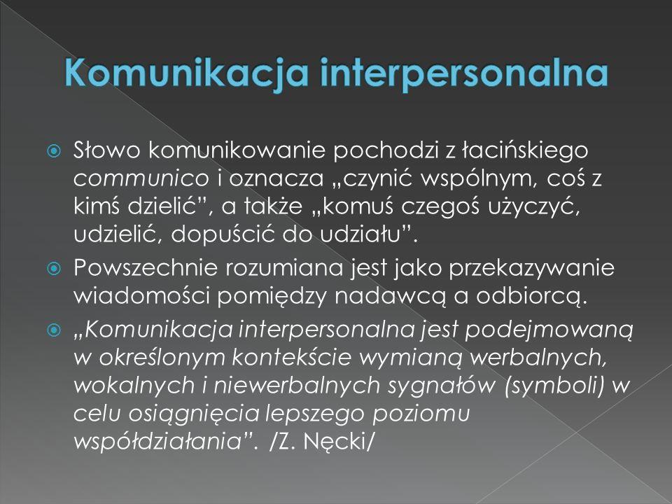 Słowo komunikowanie pochodzi z łacińskiego communico i oznacza czynić wspólnym, coś z kimś dzielić, a także komuś czegoś użyczyć, udzielić, dopuścić d
