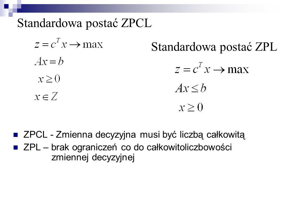Standardowa postać ZPCL ZPCL - Zmienna decyzyjna musi być liczbą całkowitą ZPL – brak ograniczeń co do całkowitoliczbowości zmiennej decyzyjnej Standardowa postać ZPL