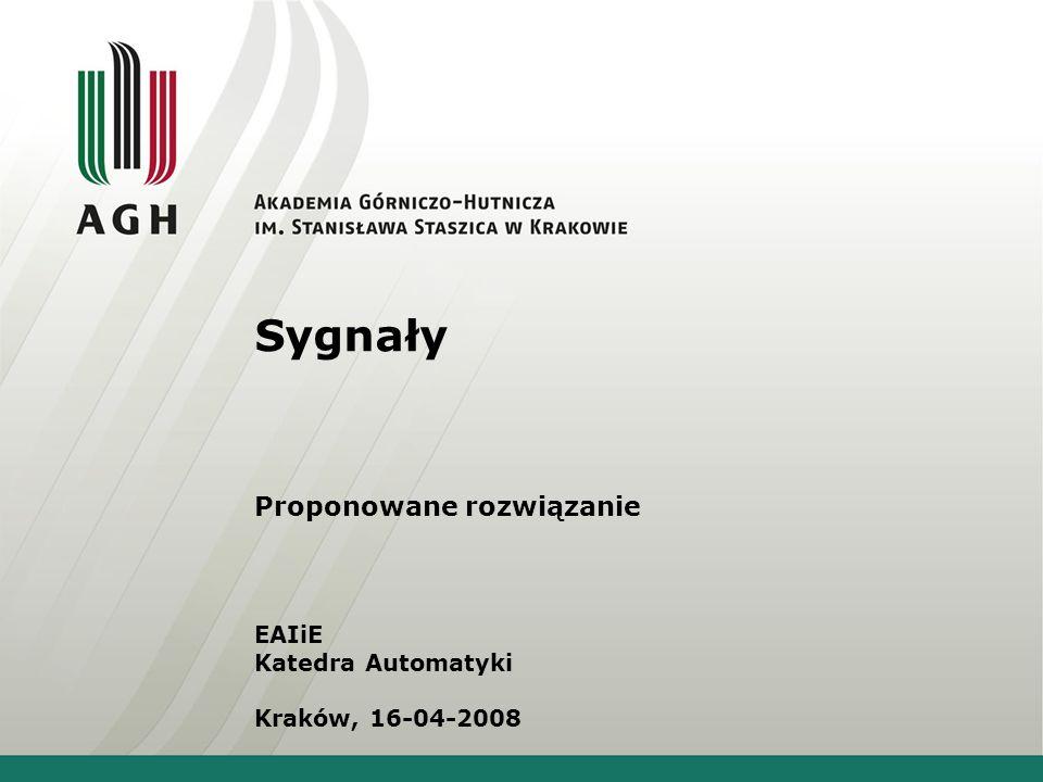 Sygnały Proponowane rozwiązanie EAIiE Katedra Automatyki Kraków, 16-04-2008