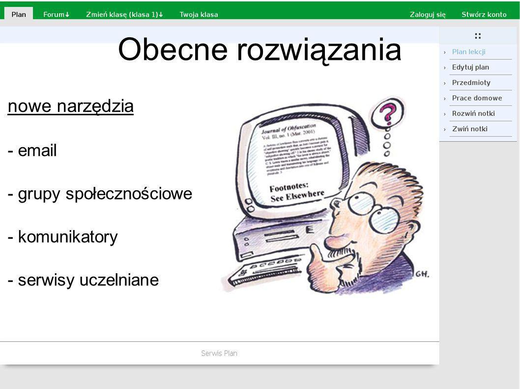 Obecne rozwiązania nowe narzędzia - email - grupy społecznościowe - komunikatory - serwisy uczelniane