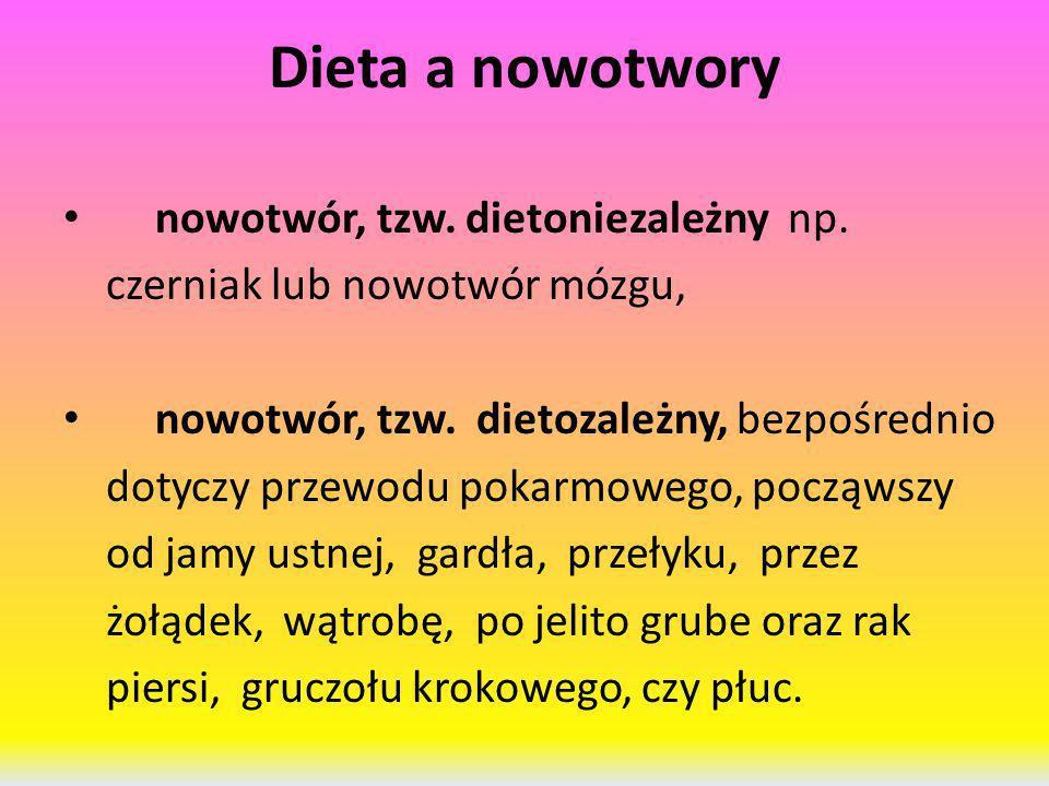 Dieta a nowotwory nowotwór, tzw. dietoniezależny np. czerniak lub nowotwór mózgu, nowotwór, tzw. dietozależny, bezpośrednio dotyczy przewodu pokarmowe