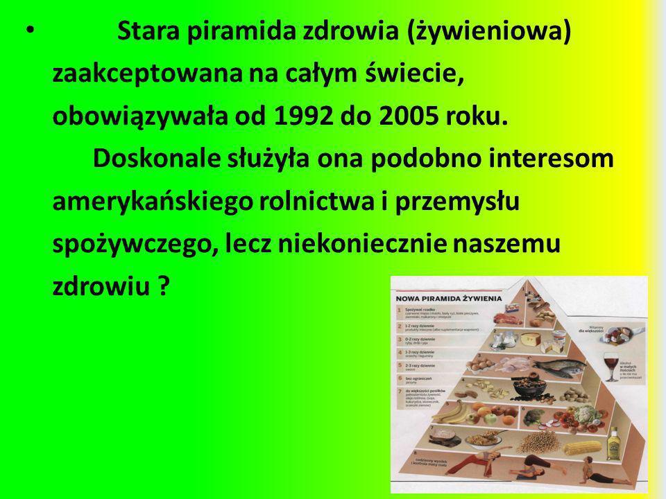 Stara piramida zdrowia (żywieniowa) zaakceptowana na całym świecie, obowiązywała od 1992 do 2005 roku. Doskonale służyła ona podobno interesom ameryka
