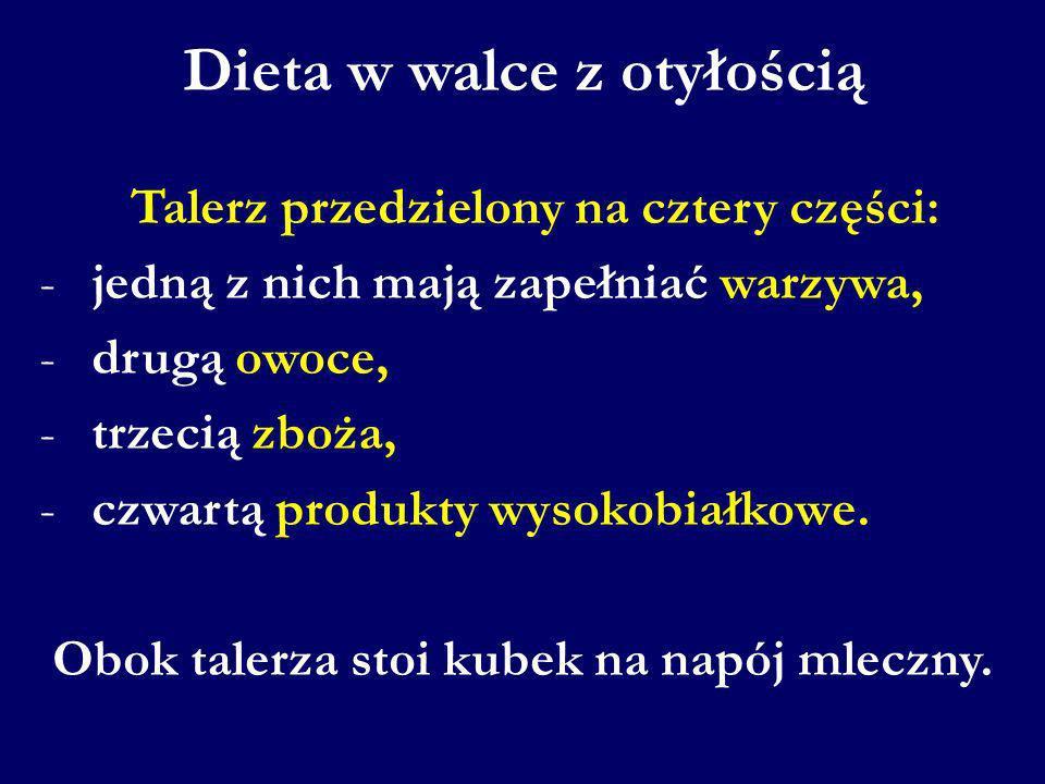 Dieta w walce z otyłością Talerz przedzielony na cztery części: - jedną z nich mają zapełniać warzywa, - drugą owoce, - trzecią zboża, - czwartą produ