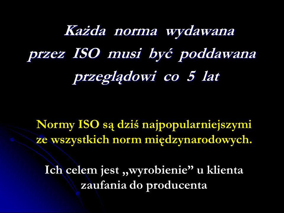 Każda norma wydawana Każda norma wydawana przez ISO musi być poddawana przeglądowi co 5 lat przeglądowi co 5 lat Normy ISO są dziś najpopularniejszymi