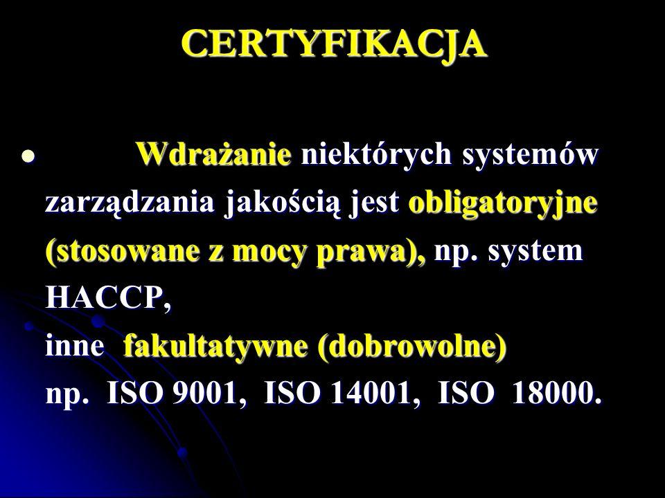 CERTYFIKACJA Wdrażanie niektórych systemów Wdrażanie niektórych systemów zarządzania jakością jest obligatoryjne (stosowane z mocy prawa), np. system