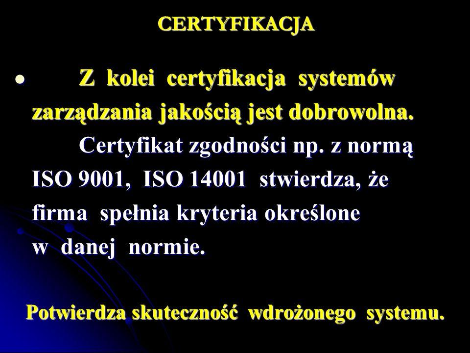 CERTYFIKACJA Z kolei certyfikacja systemów Z kolei certyfikacja systemów zarządzania jakością jest dobrowolna. Certyfikat zgodności np. z normą Certyf